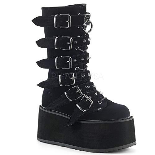 Demonia Women's DAMNED-225 Mid Calf Boot, Black Velvet, 10 M ()