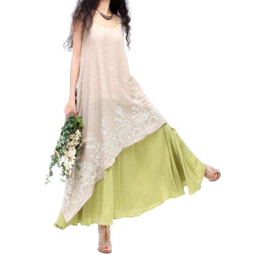 Artka Women's Aesthetic Scoopneck Embroidery Combo Swing Dress M Green