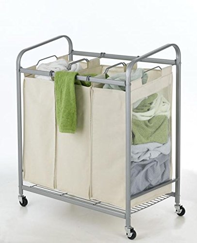 Beige 3-Bag Laundry Sorter Cart Heavy Duty Hamper Bag Bas...