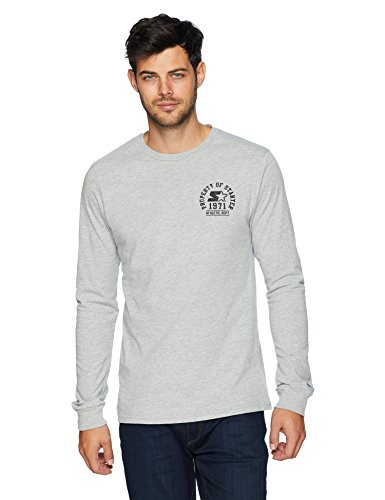 Starter Men's Long Sleeve Property of Starter Chest Logo T-Shirt, Amazon Exclusive, Vapor Grey Heather, -