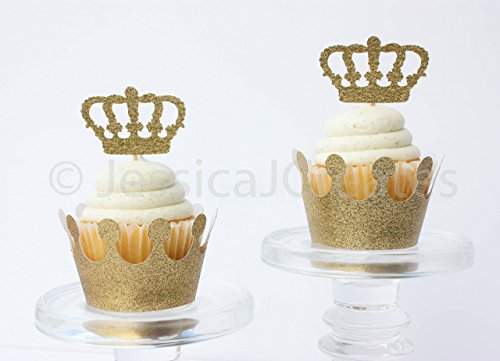 Cupcake Toppers - Gold Glitter Cupcake Toppers - Crown Cupcake Toppers - Birthday Cupcake Toppers - Prince Cupcake Toppers - Cupcakes