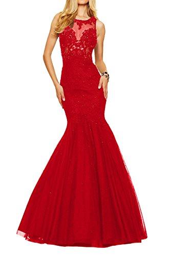 Rot Abendkleider mia Sexy Durchsichtig La Kleider Spitze Braut Festlichkleider Ballkleider Damen Formal Jugendweihe Lang qFOYxxpwd