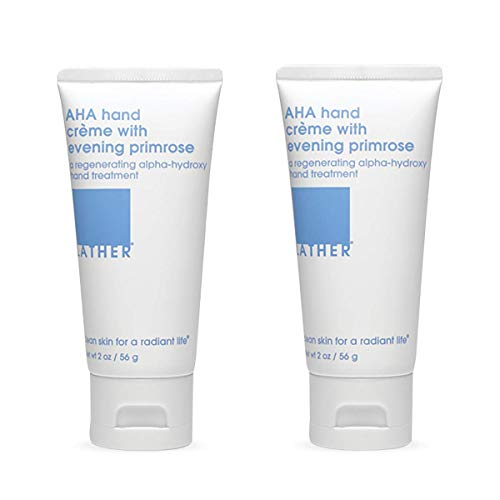 LATHER AHA Hand Crème with Evening Primrose, 2 Ounce Tube (2 Pack) Gentle, Moisturizing Exfoliant Hand Cream with Fruit Derived Alpha Hydroxy Acid