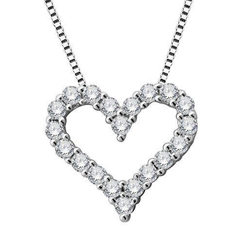 14k White Gold Diamond Heart Pendant - 14k White Gold Heart Diamond Pendant Necklace (1/4 Carat)