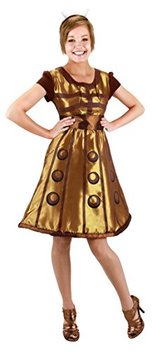 Costume For Halloween Who Women Doctor (Elope Women's Doctor Who Gold Dalek Dress L/XL)