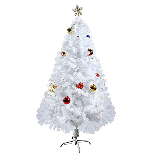 LUCKYERMORE 5 Feet Artificial Christmas Tree White Xmas Fake Tree Decorate Pine Tree with Solid Metal Stand and Decorations Holiday Decoration,White (Ft Clearance Tree Christmas White 4)