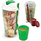 2 Pack Fresh Salad to Go Container Set with Fork and Dressing Holder