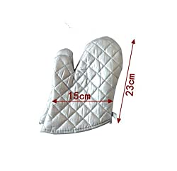 Flame Retardant Quilted Oven Mitts, Single Silver