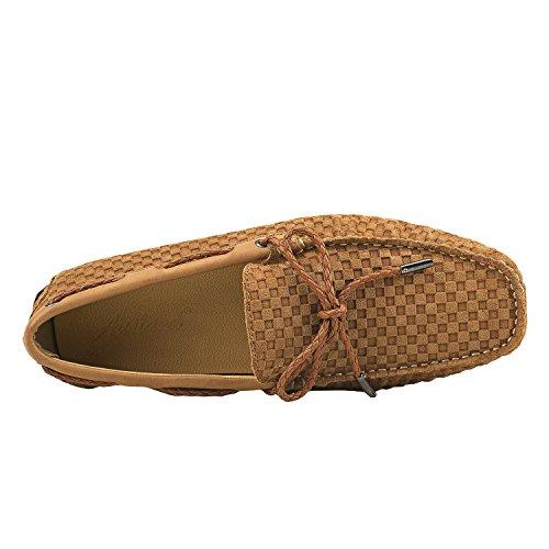 Shenduo Herren Mokassin Freitzeit Slipper Driving Schuhe D7166 Lehmgelb