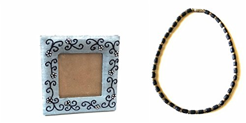 Belle Trendz Blue Beaded Picture Frame and Brown Wooden Metallic Choker Necklace - 7 Die Days Sunglasses To