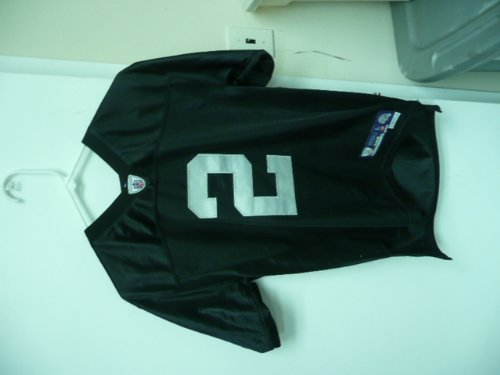 (Reebok NFL Replica Youth Jersey Large JaMarcus Russell Oakland Raiders 2 Black Silver )