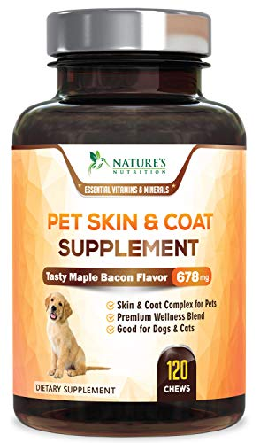 Advanced Dog Skin & Coat Supplement, All-in-One Skin & Shiny Coat Health Treats, Joint Support, Digestive Aid, Vitamins A, B1, B12, Biotin, C, E, and Minerals - Tasty Maple Bacon Flavor - 120 Chews