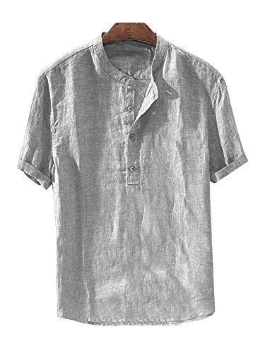Mens Linen Button Down Shirts Beach Short Sleeve Cotton Lightweight Tops Summer Tees Plain Mandarin Collar Blouses
