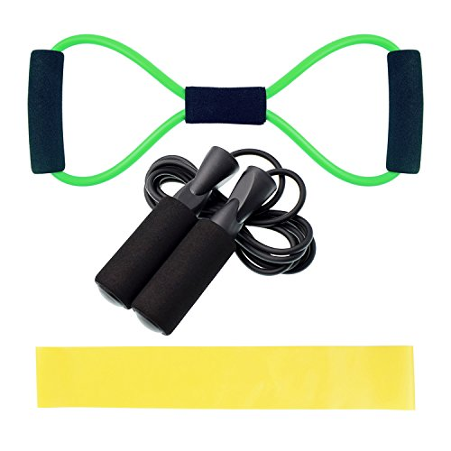Daily Exercise-3 Fitness Kit-Jump Skipping Rope+ Yellow Resistance Loop Exercise Band+ Booty Belt -Home and Outdoors-Mens and Women (Band Jump Rope Rubber)