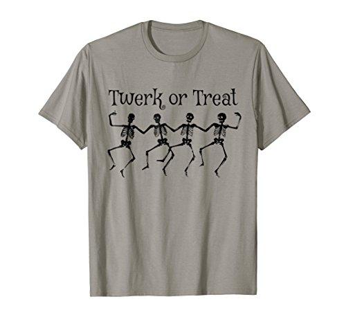 Funny Halloween Costume T-shirt Skeleton Twerk or Treat -
