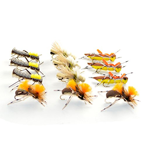 (Grasshopper Trout Fly Fishing Flies Assortment Dropper Hopper Foam Body 12 Flies 4 Patterns Trout Fly Collection)
