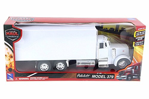 New Ray Peterbilt Box Truck, White 10243 - 1/43 Scale Diecast Model Toy Car