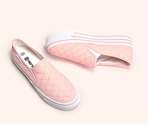 Aisun Frauen Beleg auf Plattform Loafers Canvas Schuhe Turnschuhe Rosa