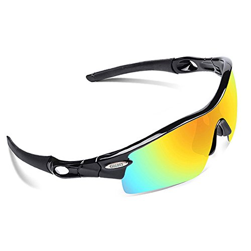 OBERLY S02 Polarized Sports Sunglasses with 4 Interchangeable Lenses for Men Women Cycling Baseball Golf Fishing Driving - Athletic Sunglasses