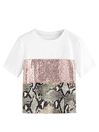Milumia Women Color Block Sequin Snake Print Round Neck Short Sleeve Tee T-Shirt Tops White-2 - Juniors T-shirt Snake