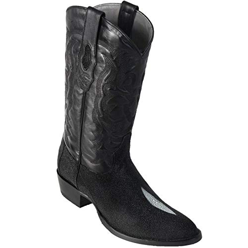 LOS ALTOS BOOTS Mens Single Stone Stingray Round Toe Western Cowboy Boot Black 9.5 D