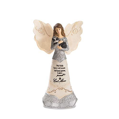 Pavilion Gift Company My Kids Have Wet Noses and Furry Paws-I Am A Proud Mom 6 Angel Holding Cat, 6 Inch, Beige