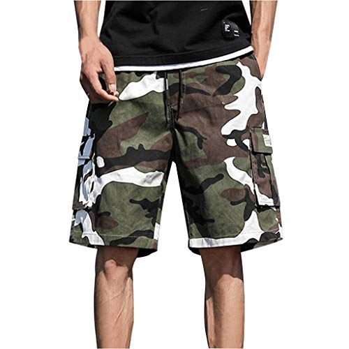 OrchidAmor 2019 Men's Boys Summer Outdoors Casual Camouflage Overalls Plus Size Sport Shorts Pants