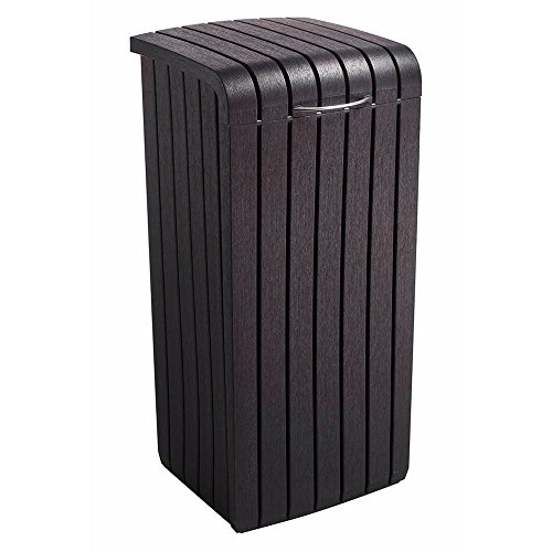 Outdoor Trash Can with Lid Decorative Patio Long-lasting Polypropylene Resin Garbage Basket Kitchen Garage Indoor Outdoor Waste Management Wood Look Contemporary Removable Rim 30gal eBook by BADA ()