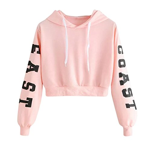 (Women Long Sleeve Printed Letters Hoody Sweatshirt Pullover Girl Casual Crop Tops Hoodies (L, Pink))