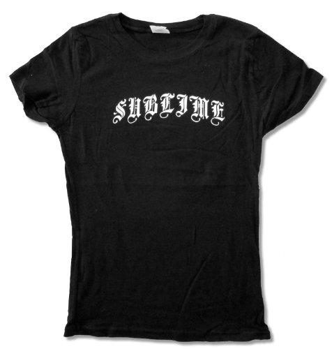 Juniors Sublime Classic White Logo on Black Baby Doll T-Shirt (Medium)