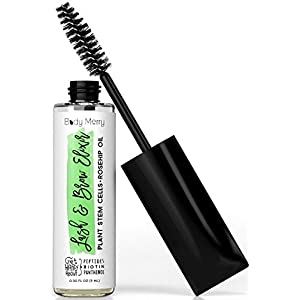 Body Merry Lash & Brow Elixir - Natural serum nourishes follicles to rapidly thicken and boost eyelash & eyebrow growth w Hyaluronic Acid + Panthenol + Peptides + Plant Stem Cells