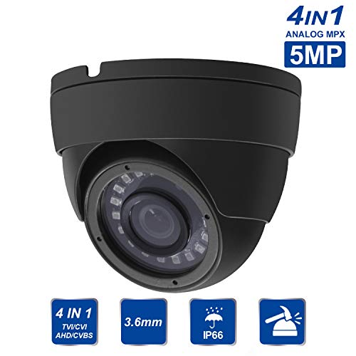5MP TVI Dome Camera, 4 in 1 TVI/CVI/CVBS/AHD Dome Turret Camera, 3.6mm Lens, IP66, 18 IR LEDs, 15m Night Vision, CCTV Dome Cameras
