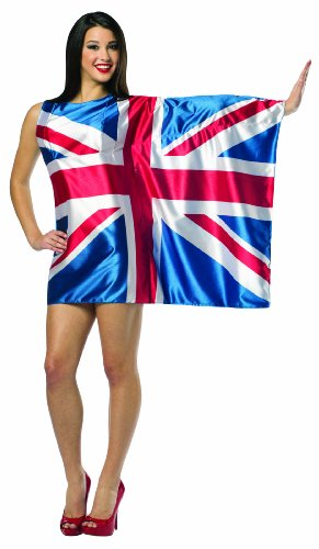 [Rasta Imposta Flag Dress UK, Red/White/Blue, Adult 4-10] (Jack White Halloween Costume)