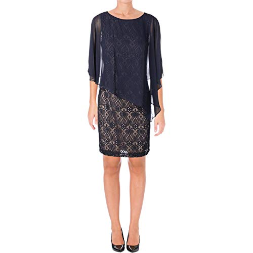 - Connected Apparel Womens Lace Overlay Pullover Cocktail Dress Navy 6