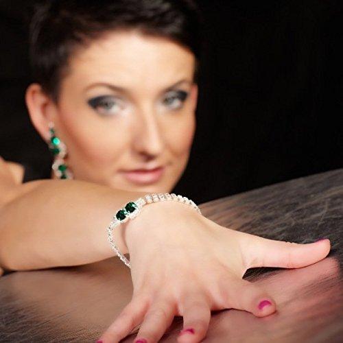 Bijoux Collier Parure Collier Boucles d'Oreilles Clips Femme Bracelet Strass Vert émeraude-Plaqué Argent
