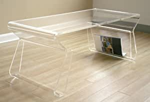 Amazon.com: Unique Acrylic Clear Coffee Table with Magazine Rack: Kitchen & Dining