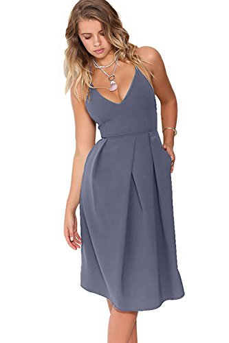 Eliacher Women's Deep V Neck Adjustable Spaghetti Straps Summer Dress Sleeveless Sexy Backless Party Dresses with Pocket (S, Dark Blue)