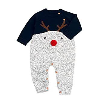 QUICKLYLY Peleles Navidad Bebé Niño Niña Crochet Punto Recién Infantil Largo Manga Mono Ropa (Marina, 0~6 Mes(70))…