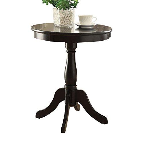 Acme Furniture Acme 82808 Alger Side Table, Black, One Size - Black Pedestal Side Table