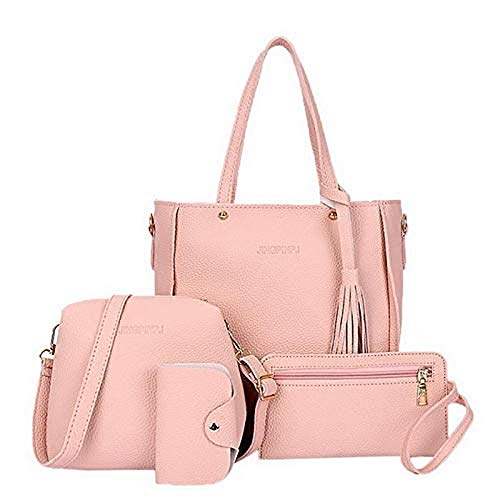 Cokil Women Shoulder Bags Leather Zipper Handbag Solid Shoulder Messenger Bag Purse Set 4Pcs