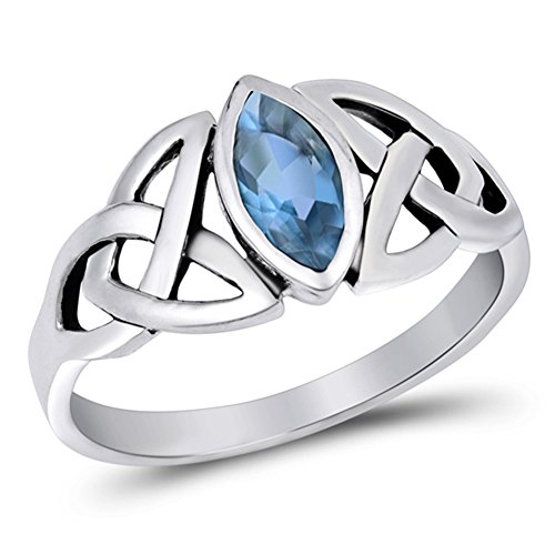 Sterling Silver Simulated Aquamarine Ring Irish Celtic Knot Design Band 925 Size 8 Celtic Knot Design Ring