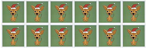 3dRose Funny Chihuahua Dog Wearing Santa Hat Christmas Art Greeting Cards, Set of 12 (gc_200475_2)