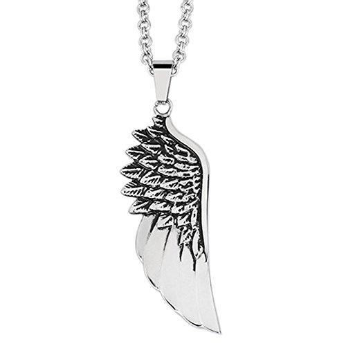 Horseshoe Toggle Watch (AGOKO Mens Retro Titanium Steel Pendant the Wings of Angel Feather Pendant Necklace)