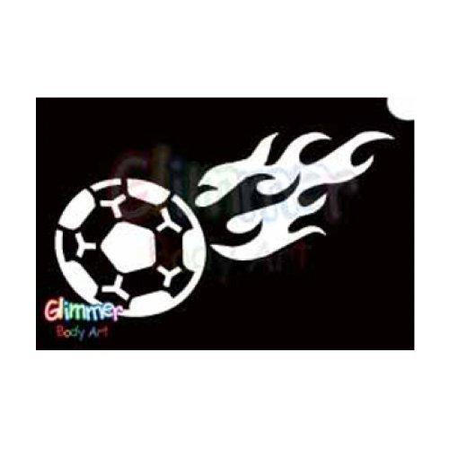 Glimmer Body Art Glitter Stencil Flaming Soccer Ball 5/pk ()