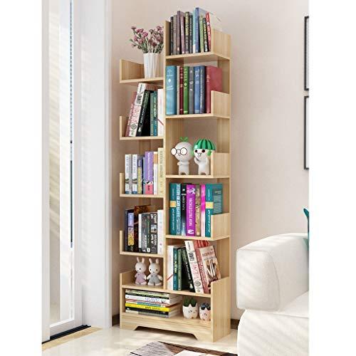 Lxrzls Bookshelf Floor Simple Living Room Solid Wood Tree Racks Children's Simple Small Bookcase Storage Space Home.