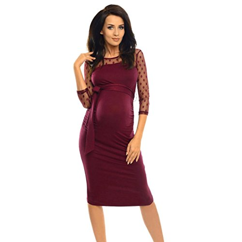 AmyDong Hot Sale! Ladies Dress, Pregnant Women Dress Women Maternity Ruched Bodycon Pregnancy Dress With Polka Dot Lace Gravida (M, Wine)