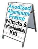 NEOPlex 24'' x 36'' Aluminum Sidewalk Sandwich Board A-frame Sign w/Letter Track Insert Panels and Full Letter Kit