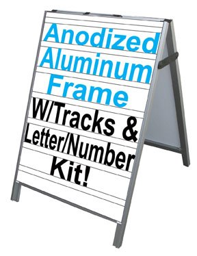 NEOPlex 24'' x 36'' Aluminum Sidewalk Sandwich Board A-frame Sign w/Letter Track Insert Panels and Full Letter Kit by NEOPlex