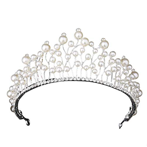Topgee Luxurious and Elegant Crown Full of Crescent Shaped Headwear Ladies Jewelry Wedding Tiara Pearl Jewelry Shiny Bridal Crown Tiara Hair Jewelry for Special Occasion Banquet Festival Party