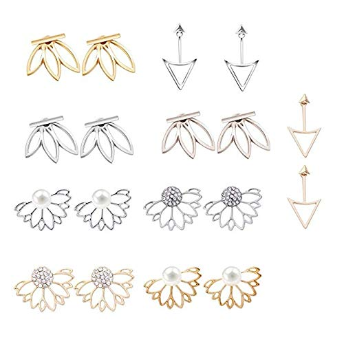 - Mydio 9 Pairs Ear Jacket Stud Lotus Lotus Flower Earrings Simple Chic Earrings Set for Women and Girls Set for sansitive Ears Simple Chic Jewelry